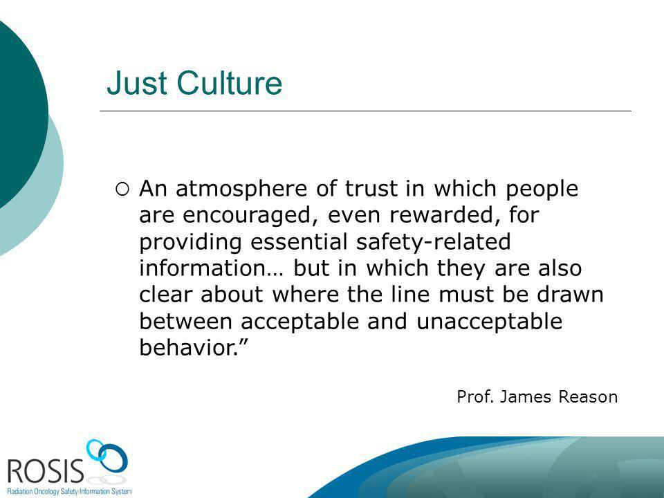 Just Culture An atmosphere of trust in which people are encouraged, even rewarded, for providing essential safety-related information… but in which they are also clear about where the line must be drawn between acceptable and unacceptable behavior.