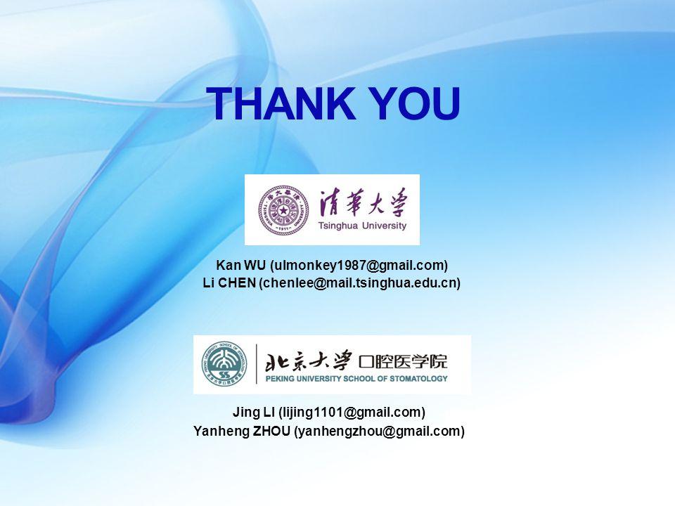 Kan WU (ulmonkey1987@gmail.com) THANK YOU Li CHEN (chenlee@mail.tsinghua.edu.cn) Jing LI (lijing1101@gmail.com) Yanheng ZHOU (yanhengzhou@gmail.com)