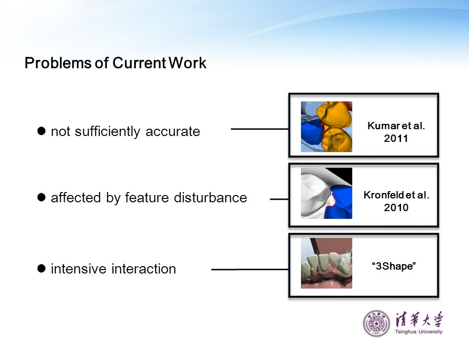 Problems of Current Work intensive interaction affected by feature disturbance not sufficiently accurate Kumar et al. 2011 Kronfeld et al. 2010 3Shape