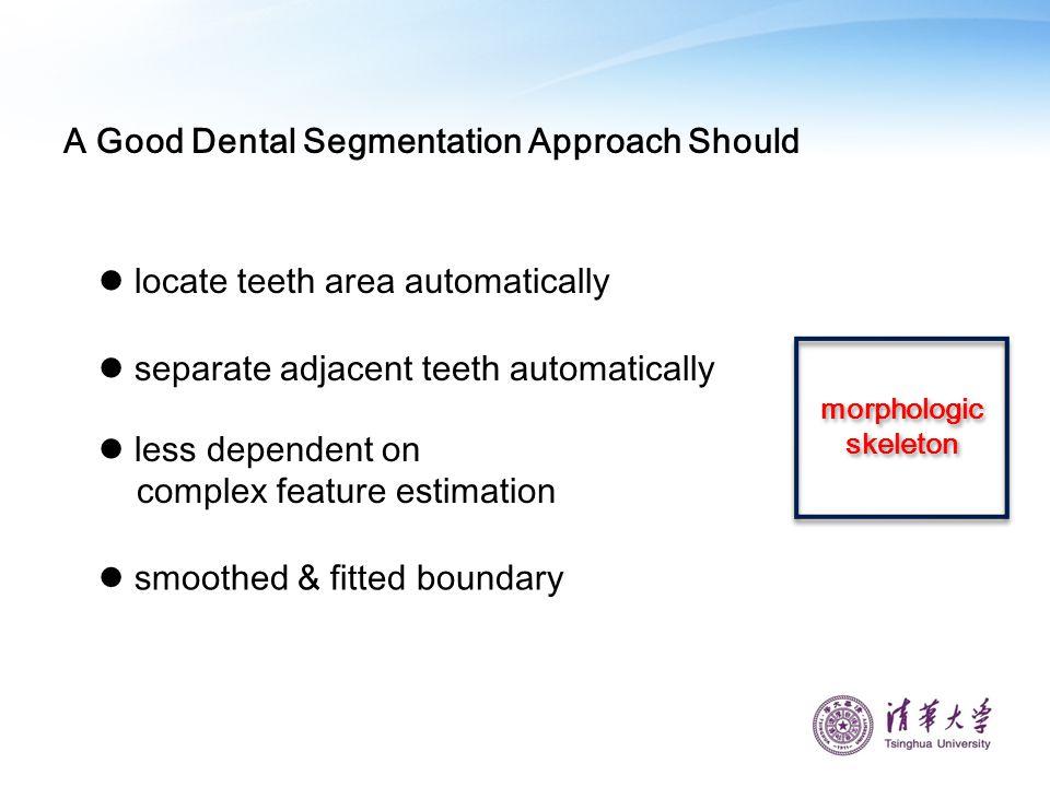A Good Dental Segmentation Approach Should locate teeth area automatically separate adjacent teeth automatically less dependent on complex feature est