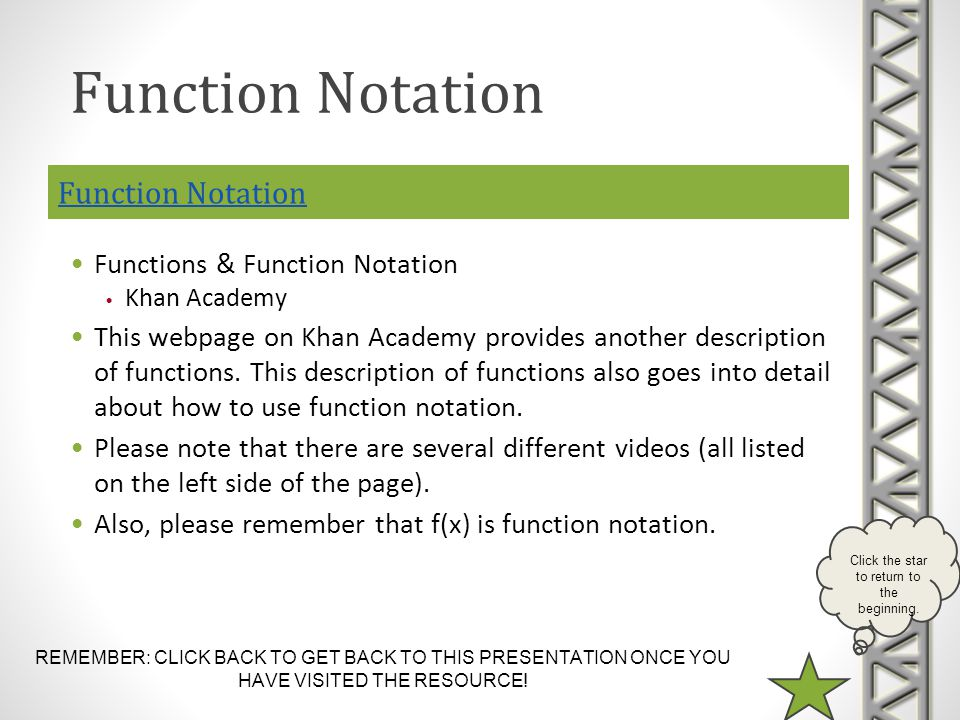 REMEMBER: CLICK BACK TO GET BACK TO THIS PRESENTATION ONCE YOU HAVE VISITED THE RESOURCE.