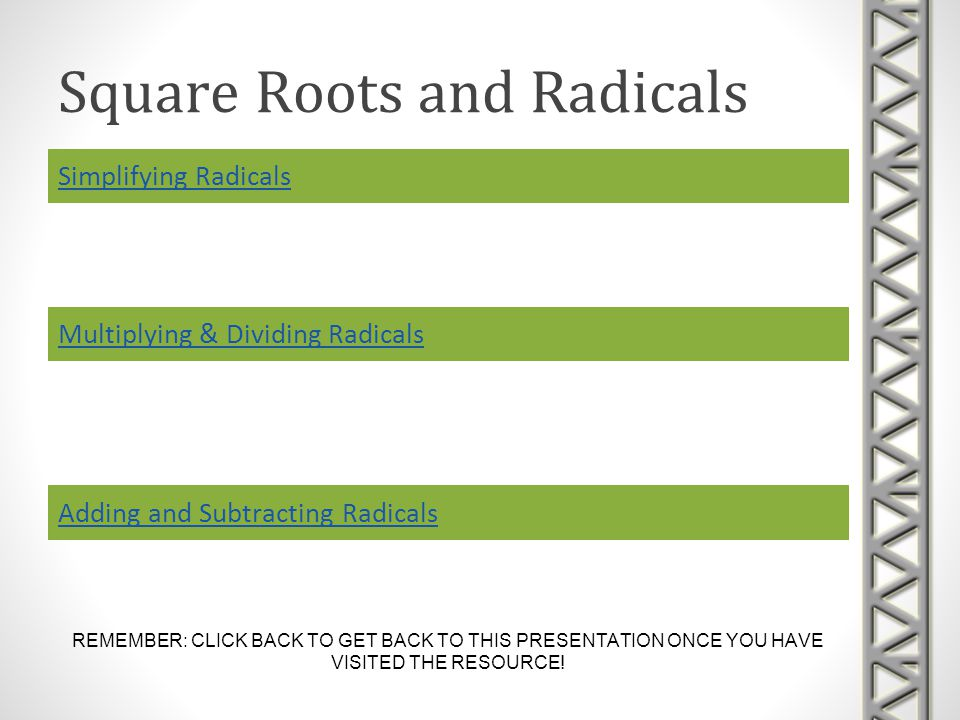 Square Roots and Radicals Simplifying Radicals REMEMBER: CLICK BACK TO GET BACK TO THIS PRESENTATION ONCE YOU HAVE VISITED THE RESOURCE.