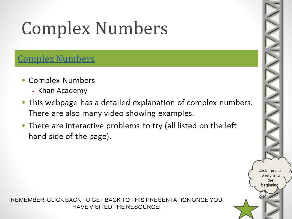 REMEMBER: CLICK BACK TO GET BACK TO THIS PRESENTATION ONCE YOU HAVE VISITED THE RESOURCE! Click the star to return to the beginning. Complex Numbers K