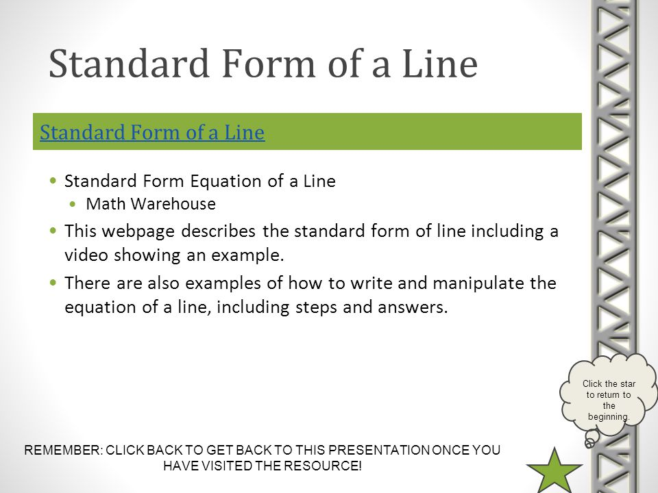 REMEMBER: CLICK BACK TO GET BACK TO THIS PRESENTATION ONCE YOU HAVE VISITED THE RESOURCE! Click the star to return to the beginning. Standard Form of