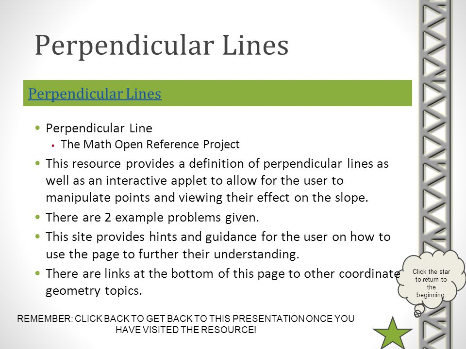 REMEMBER: CLICK BACK TO GET BACK TO THIS PRESENTATION ONCE YOU HAVE VISITED THE RESOURCE! Click the star to return to the beginning. Perpendicular Lin