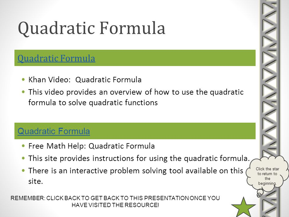 REMEMBER: CLICK BACK TO GET BACK TO THIS PRESENTATION ONCE YOU HAVE VISITED THE RESOURCE! Click the star to return to the beginning. Quadratic Formula