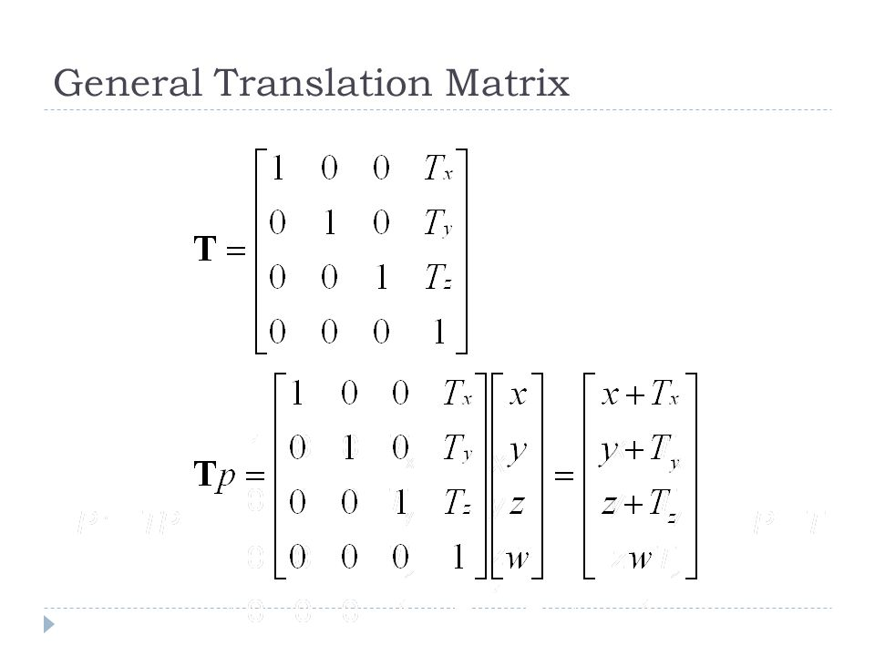 General Translation Matrix