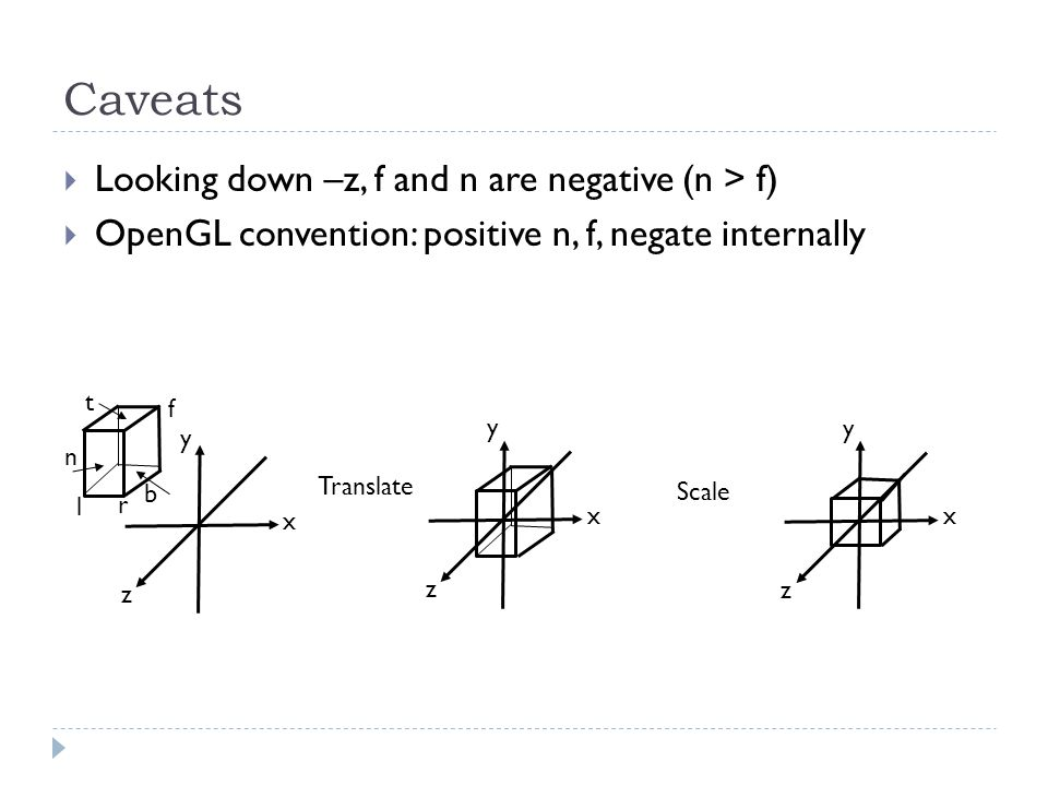 Caveats Looking down –z, f and n are negative (n > f) OpenGL convention: positive n, f, negate internally x z y l r t b n f x z Translate y x z y Scal