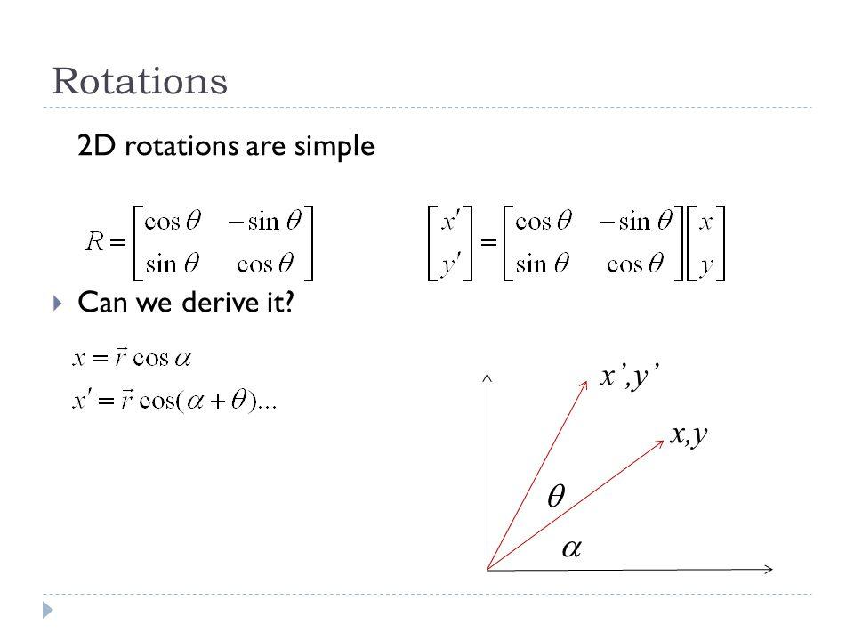 Rotations, contd. Basic properties… Linear Commutative R(X+Y)=R(X)+R(Y)