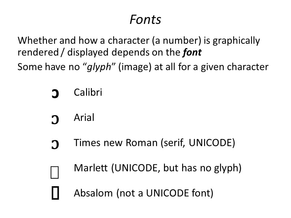 Fonts Whether and how a character (a number) is graphically rendered / displayed depends on the font Some have no glyph (image) at all for a given character ɔ Calibri ɔ Arial ɔ Times new Roman (serif, UNICODE) ɔ Marlett (UNICODE, but has no glyph) ɔ Absalom (not a UNICODE font)