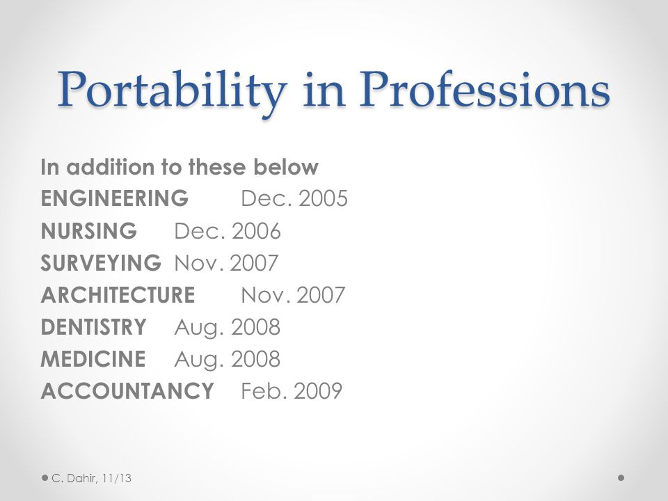 Portability in Professions In addition to these below ENGINEERING Dec.