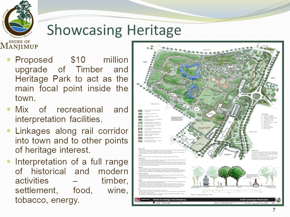 Showcasing Heritage 7 Proposed $10 million upgrade of Timber and Heritage Park to act as the main focal point inside the town.