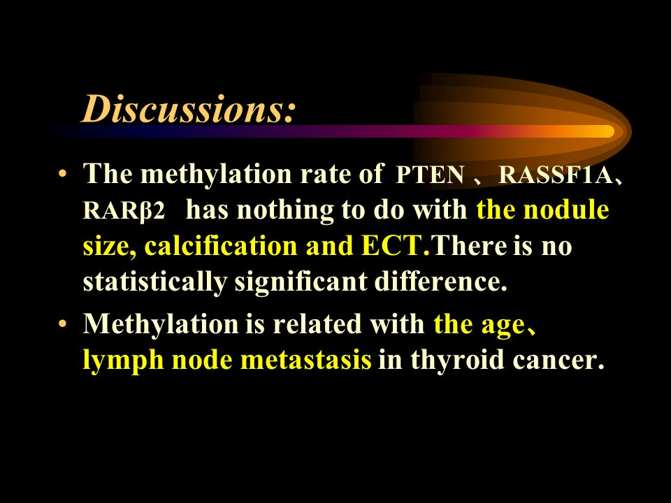 Discussions: The methylation rate of PTEN RASSF1A RARβ2 has nothing to do with the nodule size, calcification and ECT.There is no statistically significant difference.