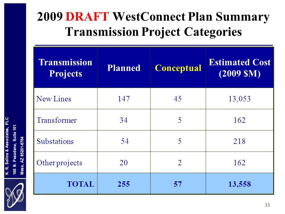 Mesa, AZ 85201-6764 160 N. Pasadena, Suite 101 K. R. Saline & Associates, PLC 11 2009 DRAFT WestConnect Plan Summary Transmission Project Categories T
