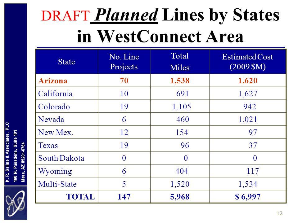 Mesa, AZ 85201-6764 160 N. Pasadena, Suite 101 K. R. Saline & Associates, PLC 12 DRAFT Planned Lines by States in WestConnect Area State No. Line Proj