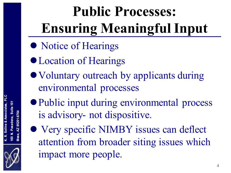 Mesa, AZ 85201-6764 160 N. Pasadena, Suite 101 K. R. Saline & Associates, PLC Public Processes: Ensuring Meaningful Input Notice of Hearings Location