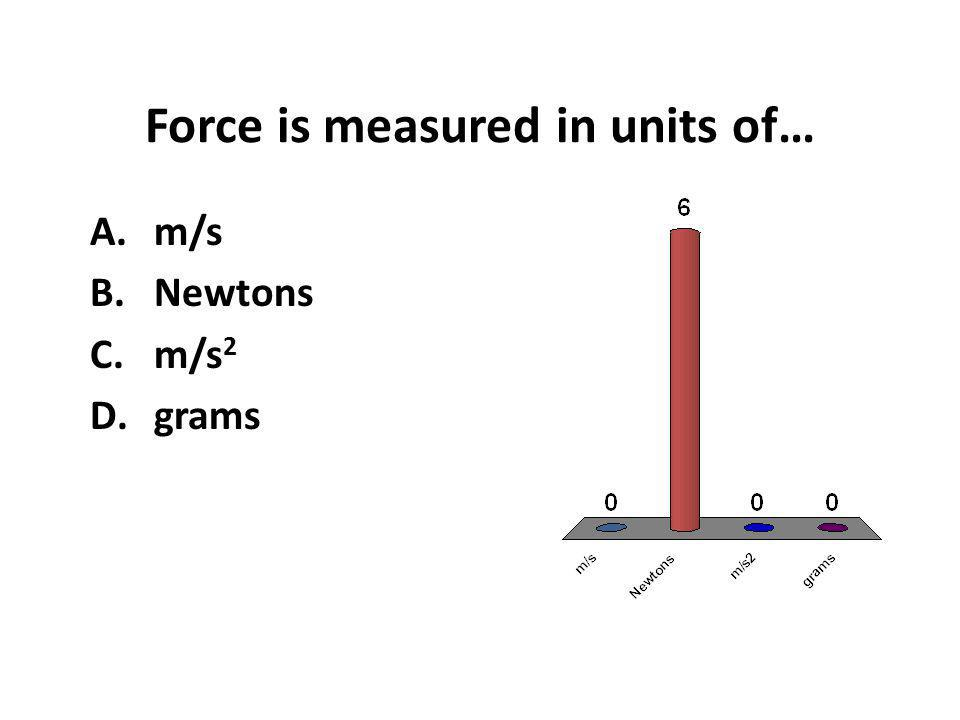 Force is measured in units of… A.m/s B.Newtons C.m/s 2 D.grams