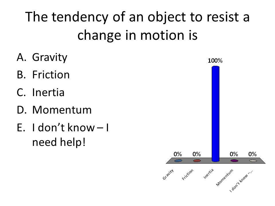 The tendency of an object to resist a change in motion is A.Gravity B.Friction C.Inertia D.Momentum E.I dont know – I need help!