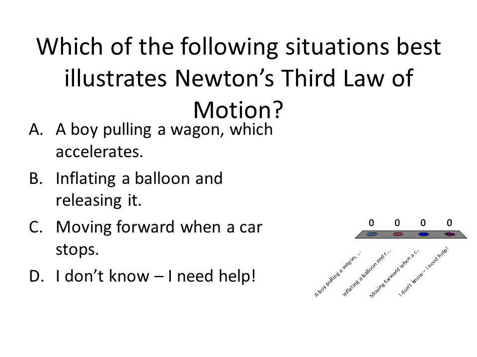 Which of the following situations best illustrates Newtons Third Law of Motion? A.A boy pulling a wagon, which accelerates. B.Inflating a balloon and