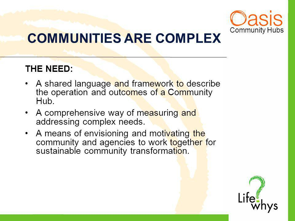 Community Hubs COMMUNITIES ARE COMPLEX THE NEED: A shared language and framework to describe the operation and outcomes of a Community Hub.
