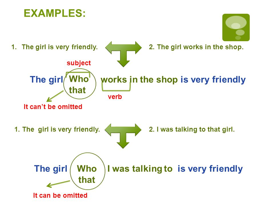 EXAMPLES: 1.The girl is very friendly.2. The girl works in the shop.
