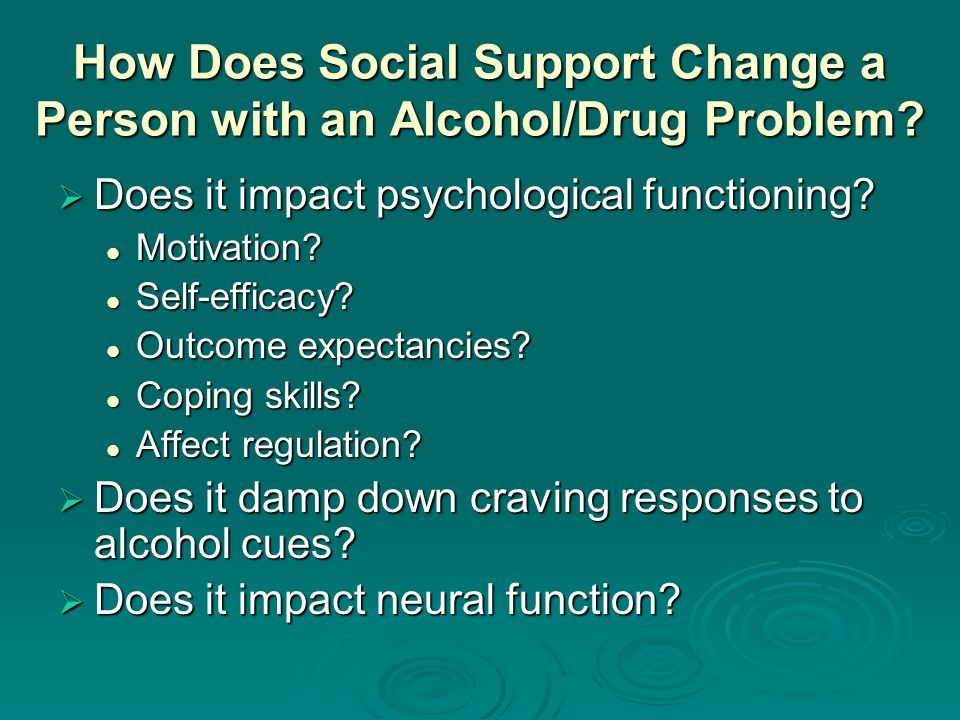 How Does Social Support Change a Person with an Alcohol/Drug Problem.