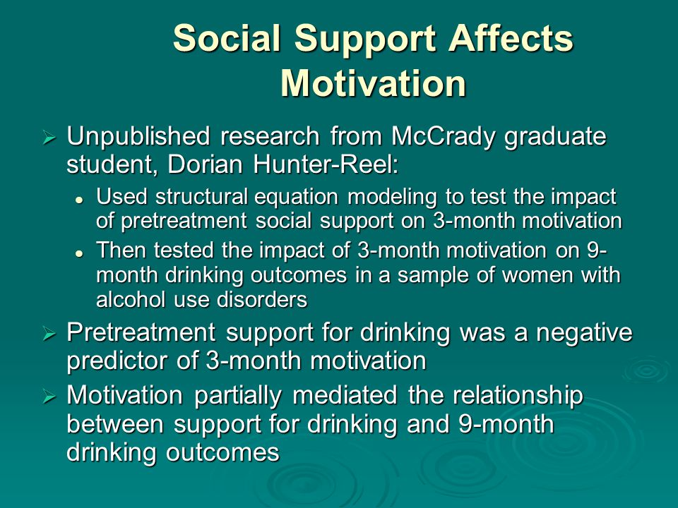 Social Support Affects Motivation Unpublished research from McCrady graduate student, Dorian Hunter-Reel: Unpublished research from McCrady graduate student, Dorian Hunter-Reel: Used structural equation modeling to test the impact of pretreatment social support on 3-month motivation Used structural equation modeling to test the impact of pretreatment social support on 3-month motivation Then tested the impact of 3-month motivation on 9- month drinking outcomes in a sample of women with alcohol use disorders Then tested the impact of 3-month motivation on 9- month drinking outcomes in a sample of women with alcohol use disorders Pretreatment support for drinking was a negative predictor of 3-month motivation Pretreatment support for drinking was a negative predictor of 3-month motivation Motivation partially mediated the relationship between support for drinking and 9-month drinking outcomes Motivation partially mediated the relationship between support for drinking and 9-month drinking outcomes