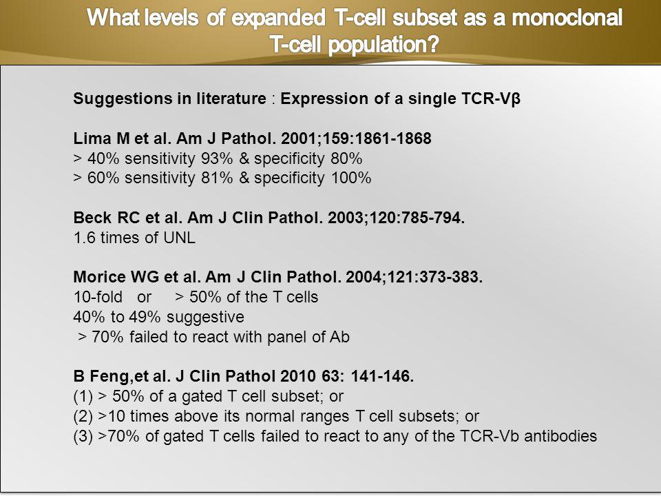 Page 19 Suggestions in literature : Expression of a single TCR-Vβ Lima M et al. Am J Pathol. 2001;159:1861-1868 > 40% sensitivity 93% & specificity 80