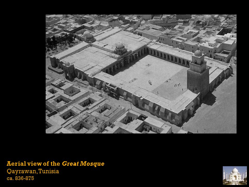 Aerial view of the Great Mosque Qayrawan, Tunisia ca. 836-875