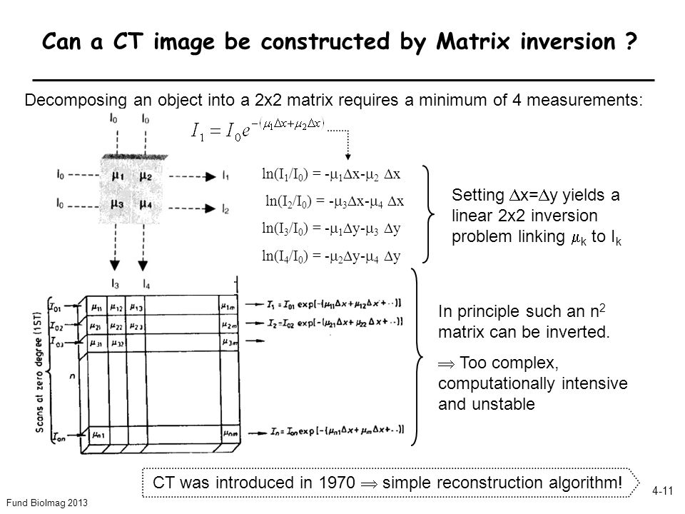 Fund BioImag 2013 4-11 Can a CT image be constructed by Matrix inversion ? In principle such an n 2 matrix can be inverted. Too complex, computational