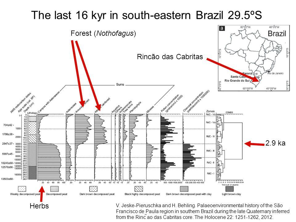 The last 16 kyr in south-eastern Brazil 29.5ºS V. Jeske-Pieruschka and H. Behling. Palaeoenvironmental history of the São Francisco de Paula region in