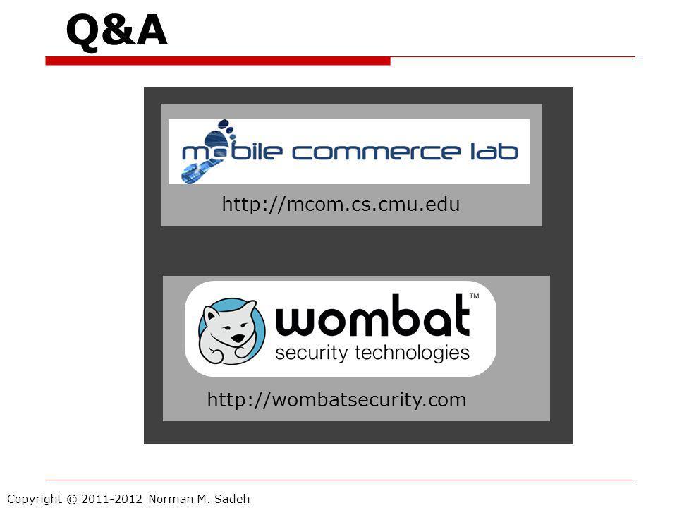 Copyright © 2011-2012 Norman M. Sadeh http://wombatsecurity.com http://mcom.cs.cmu.edu Q&A