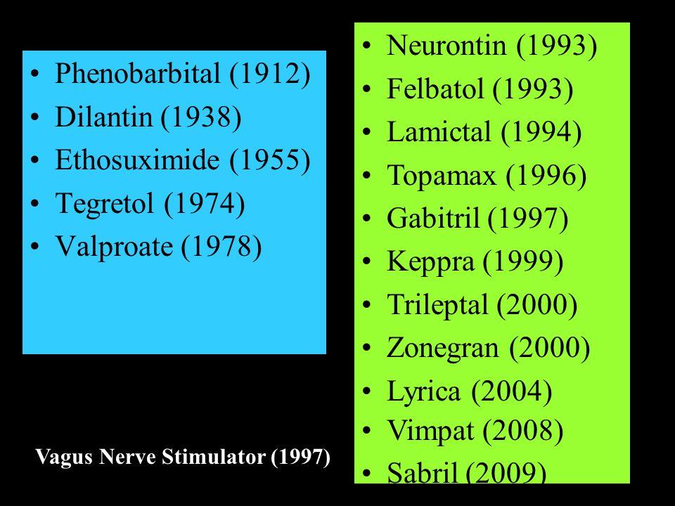 Phenobarbital (1912) Dilantin (1938) Ethosuximide (1955) Tegretol (1974) Valproate (1978) Neurontin (1993) Felbatol (1993) Lamictal (1994) Topamax (1996) Gabitril (1997) Keppra (1999) Trileptal (2000) Zonegran (2000) Lyrica (2004) Vimpat (2008) Sabril (2009) Vagus Nerve Stimulator (1997)