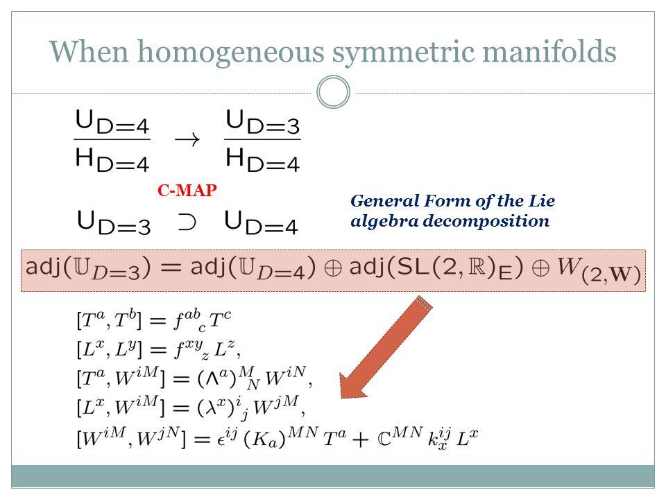 When homogeneous symmetric manifolds C-MAP General Form of the Lie algebra decomposition