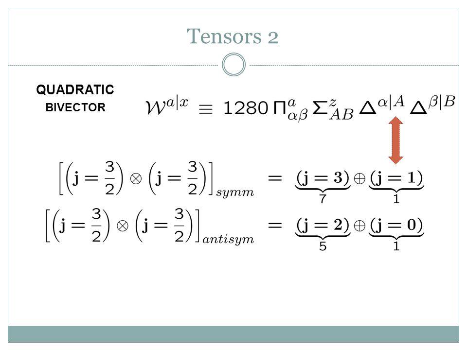 Tensors 2 BIVECTOR QUADRATIC