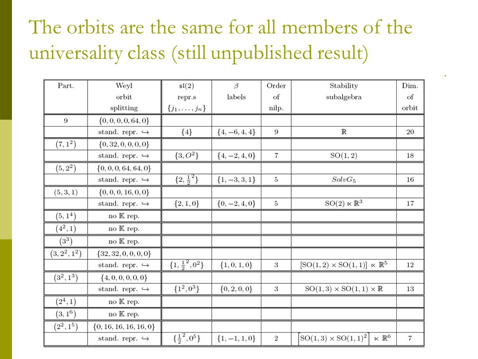 The orbits are the same for all members of the universality class (still unpublished result)