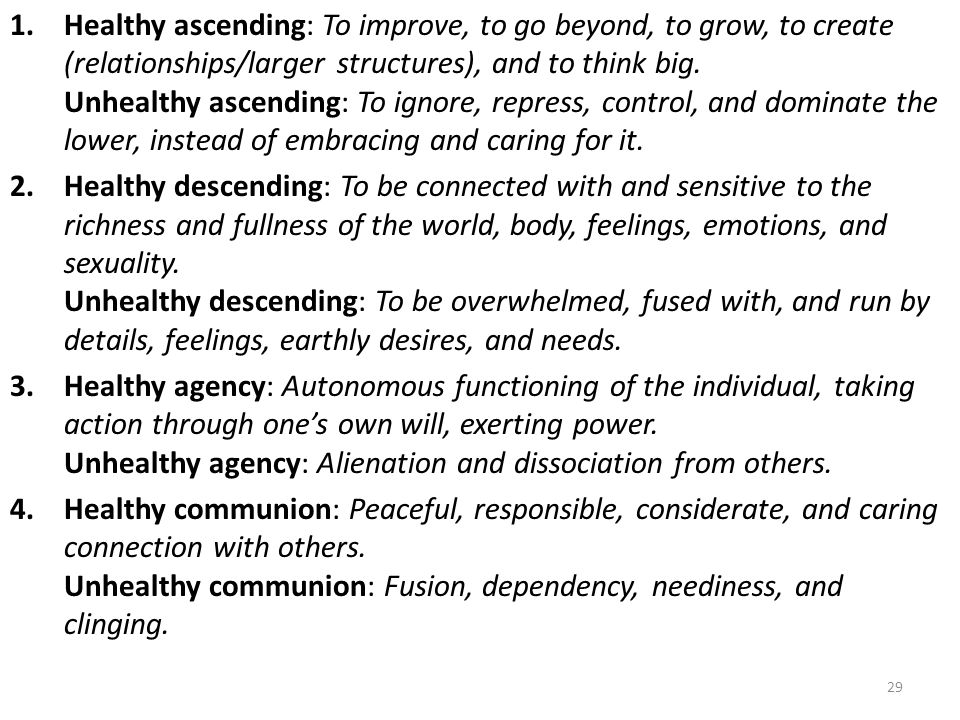 1.Healthy ascending: To improve, to go beyond, to grow, to create (relationships/larger structures), and to think big. Unhealthy ascending: To ignore,