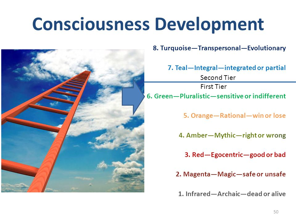 Consciousness Development 8. TurquoiseTranspersonalEvolutionary 7. TealIntegralintegrated or partial 6. GreenPluralisticsensitive or indifferent 5. Or