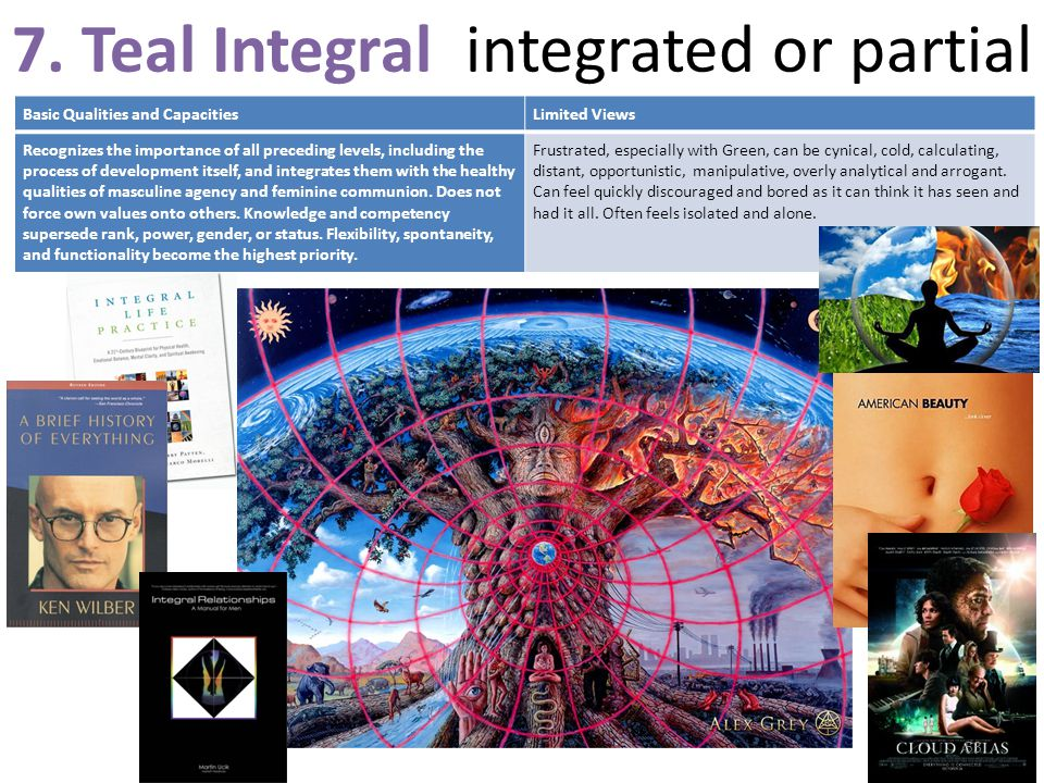 7. Teal Integral integrated or partial Basic Qualities and CapacitiesLimited Views Recognizes the importance of all preceding levels, including the pr