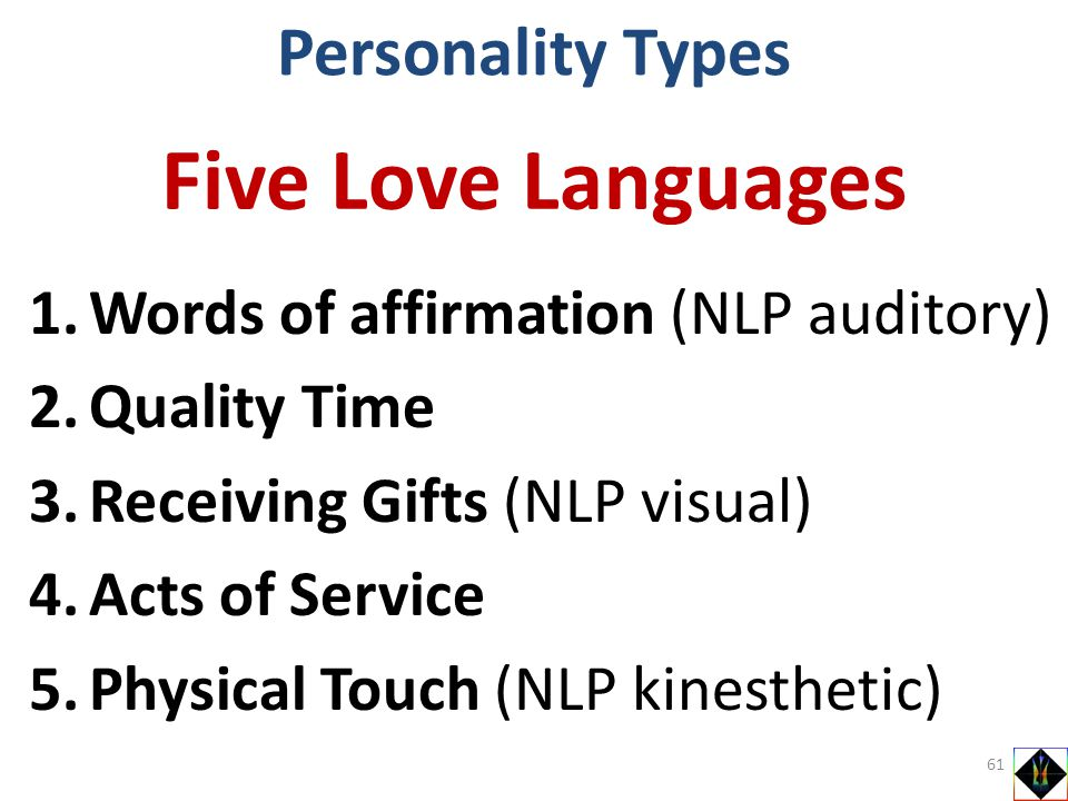 1.Words of affirmation (NLP auditory) 2.Quality Time 3.Receiving Gifts (NLP visual) 4.Acts of Service 5.Physical Touch (NLP kinesthetic) Personality T