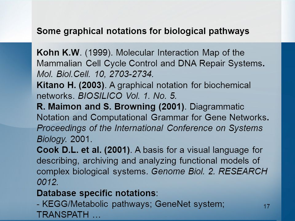 17 Some graphical notations for biological pathways Kohn K.W.