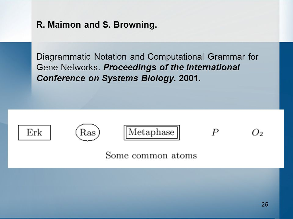 25 R. Maimon and S. Browning. Diagrammatic Notation and Computational Grammar for Gene Networks.