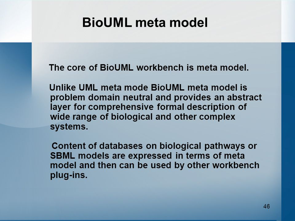46 BioUML meta model The core of BioUML workbench is meta model.