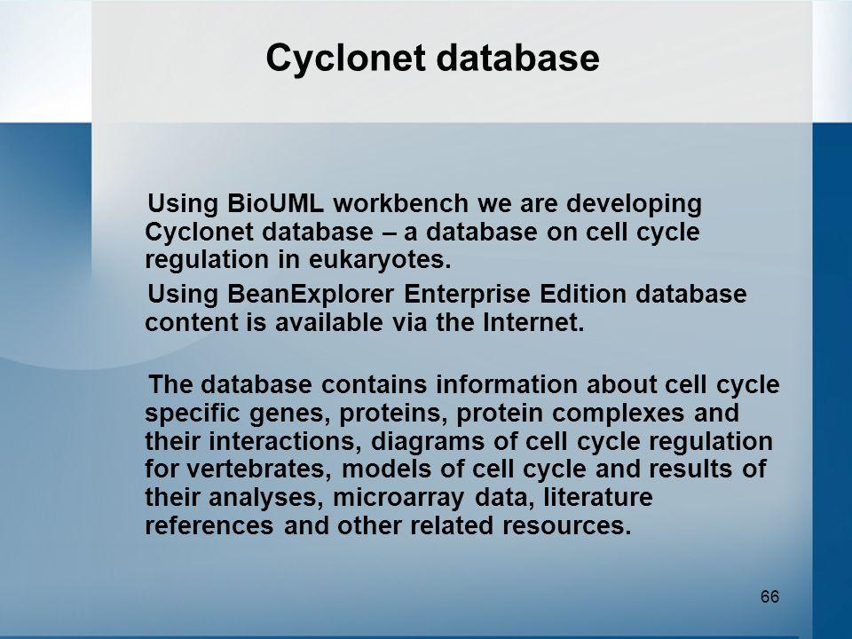 66 Cyclonet database Using BioUML workbench we are developing Cyclonet database – a database on cell cycle regulation in eukaryotes. Using BeanExplore