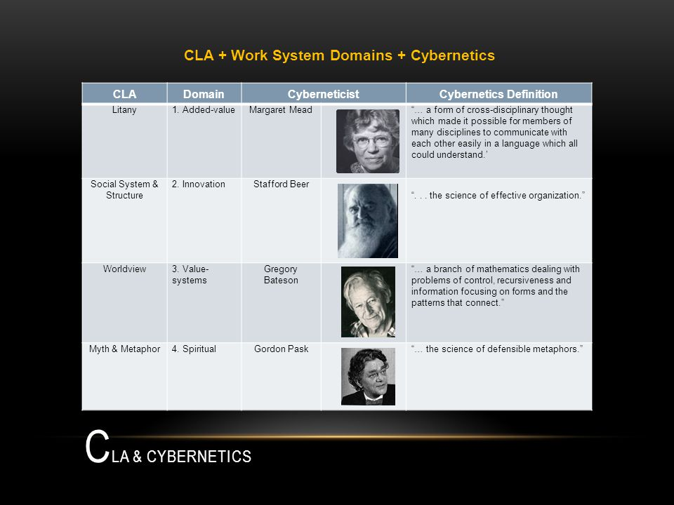 C LA & CYBERNETICS CLADomainCyberneticistCybernetics Definition Litany1.