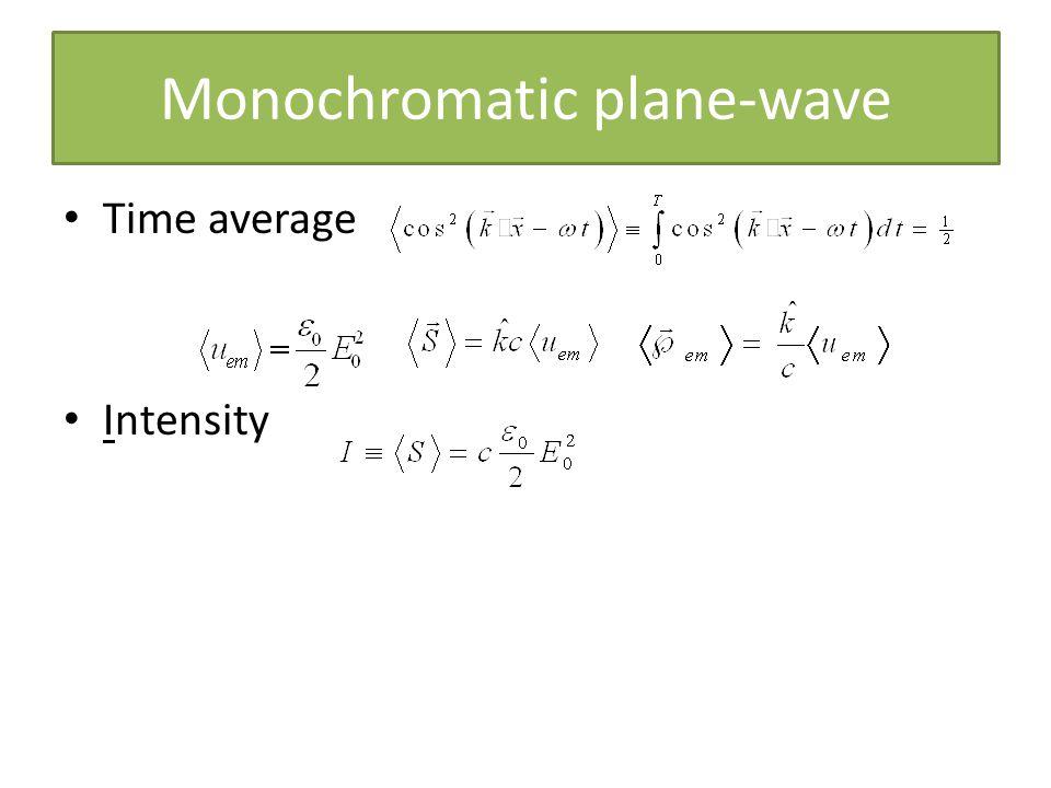 Monochromatic plane-wave Time average Intensity