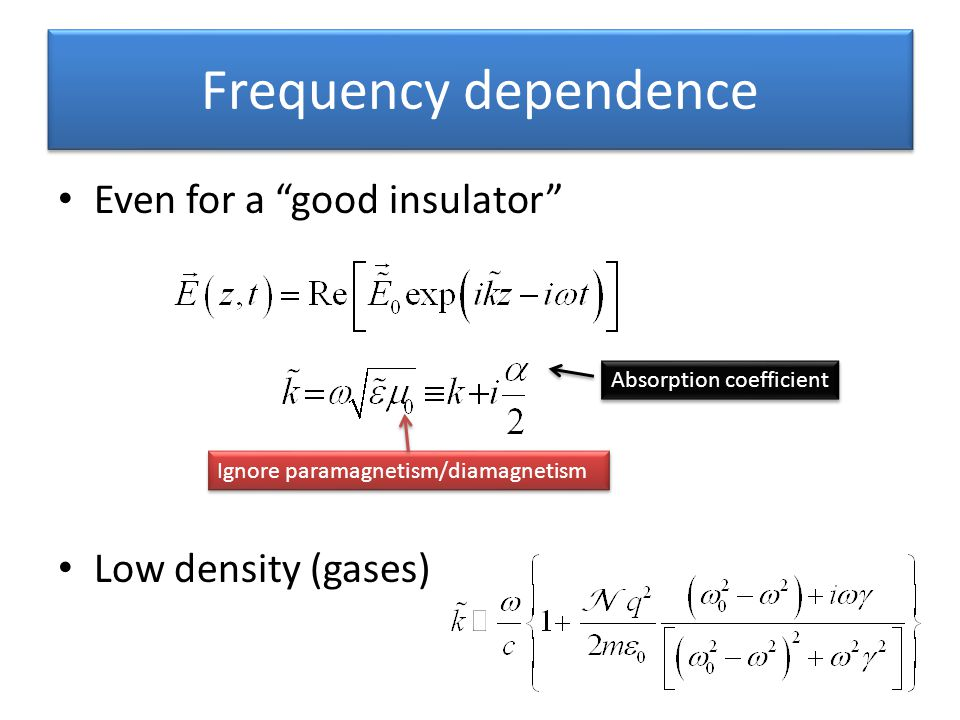 Frequency dependence Even for a good insulator Low density (gases) Ignore paramagnetism/diamagnetism Absorption coefficient