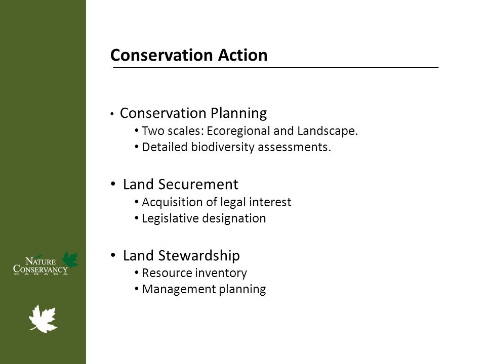 Conservation Action Conservation Planning Two scales: Ecoregional and Landscape. Detailed biodiversity assessments. Land Securement Acquisition of leg