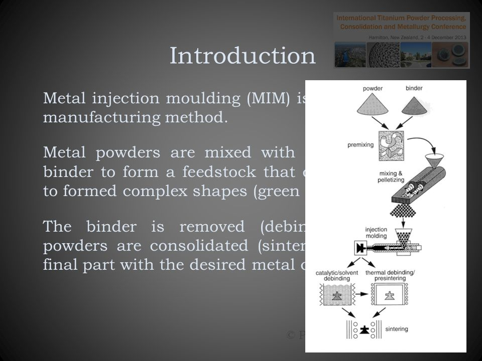 Overview Research aims Feedstock Moulding Debinding Sintering Conclusion © Paul Ewart: November 2013