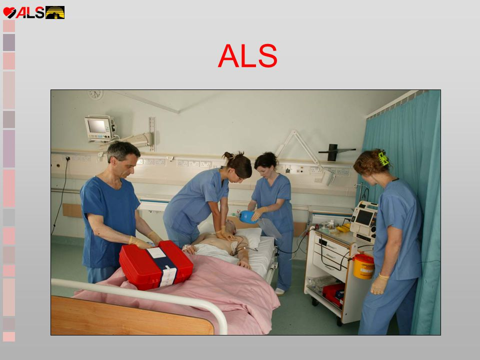 Objectives Prevention of cardiac arrest Revision of BLS ALS algorithms - shockable ryhthms - non-shockable rhythms Potential reversible causes of cardiac arrest Safe debrillation (Zoll and AED) Practice ALS scenarios